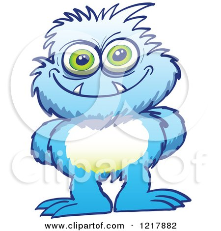 Clipart of a Mischievous Blue Monster - Royalty Free Vector Illustration by Zooco
