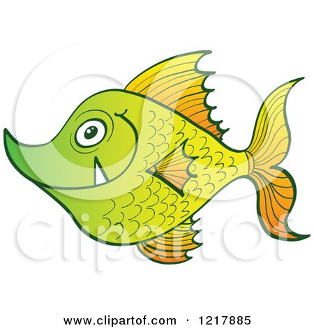 Clipart of a Happy Green Fish with Fangs - Royalty Free Vector Illustration by Zooco