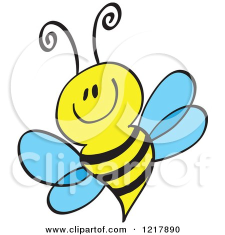 Clipart of a Happy Smiling Bee - Royalty Free Vector Illustration by Zooco