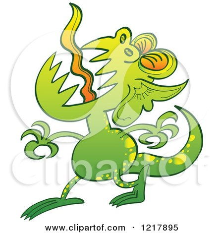 Clipart of a Disgusting Green Monster - Royalty Free Vector Illustration by Zooco
