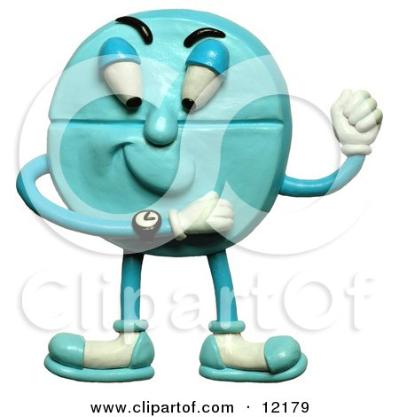 Clay Sculpture Clipart Blue Pill Timing To Knock - Royalty Free 3d Illustration  by Amy Vangsgard