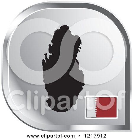 Clipart of a Silver Quatar Map and Flag Icon - Royalty Free Vector Illustration by Lal Perera
