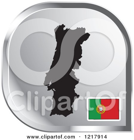 Clipart of a Silver Portugal Map and Flag Icon - Royalty Free Vector Illustration by Lal Perera