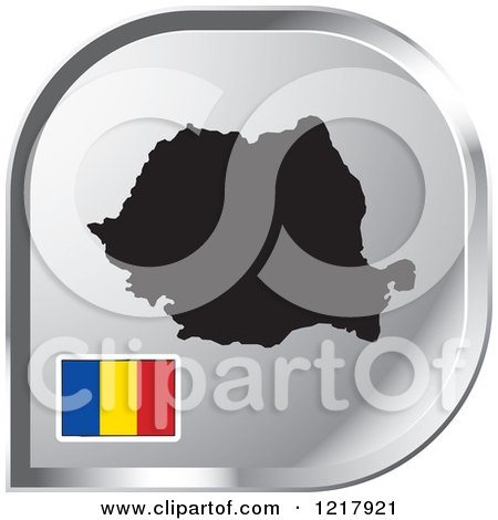 Clipart of a Silver Romania Map and Flag Icon - Royalty Free Vector Illustration by Lal Perera