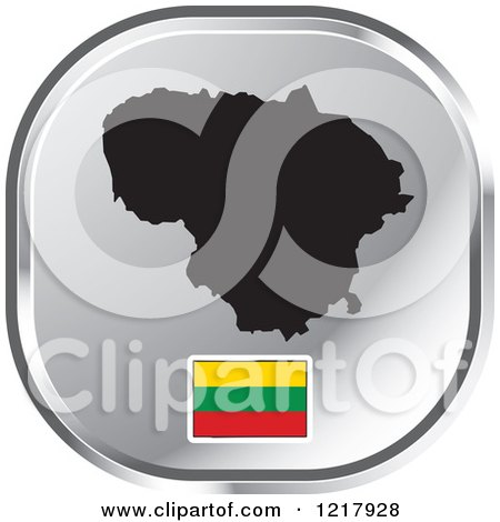 Clipart of a Silver Lithuania Map and Flag Icon - Royalty Free Vector Illustration by Lal Perera