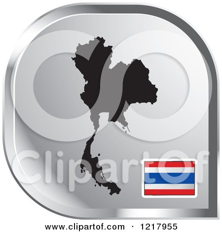 Clipart of a Silver Thailand Map and Flag Icon - Royalty Free Vector Illustration by Lal Perera