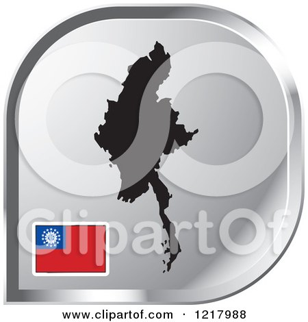 Clipart of a Silver Myanmar Map and Flag Icon - Royalty Free Vector Illustration by Lal Perera