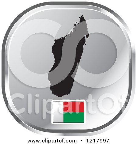 Clipart of a Silver Madagascar Map and Flag Icon - Royalty Free Vector Illustration by Lal Perera