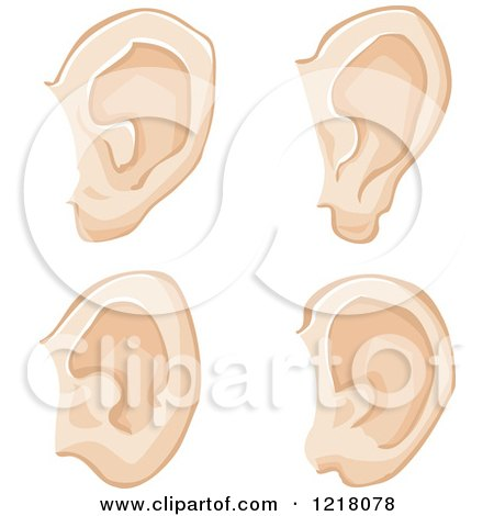 Clipart of Human Ears - Royalty Free Vector Illustration by Bad Apples