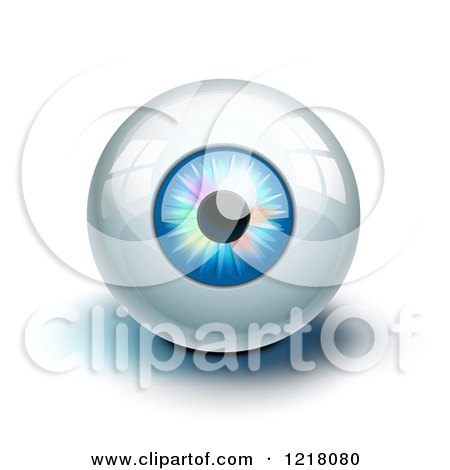 Clipart of a 3d Blue Eye with Colorful Lights and Reflections, on White - Royalty Free Vector Illustration by Oligo
