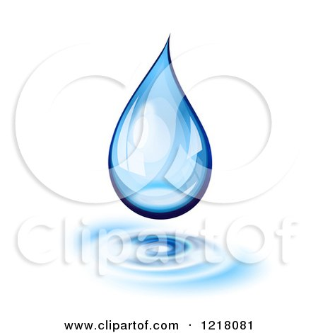 Clipart of a 3d Blue Water Droplet with Ribbles, on White - Royalty Free Vector Illustration by Oligo