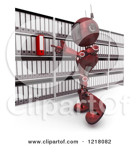 Clipart of a 3d Red Android Robot Searching in an Archive Room - Royalty Free Illustration by KJ Pargeter