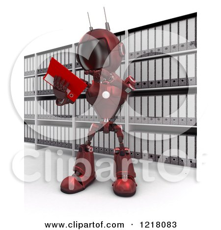 Clipart of a 3d Red Android Robot Reading in an Archive Room - Royalty Free Illustration by KJ Pargeter