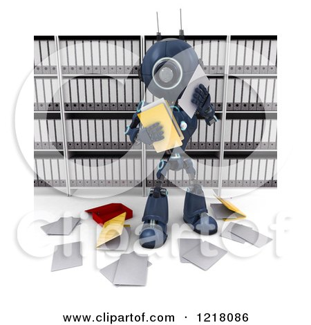 Clipart of a 3d Blue Android Robot Making a Mess in a Document Filing Room - Royalty Free Illustration by KJ Pargeter