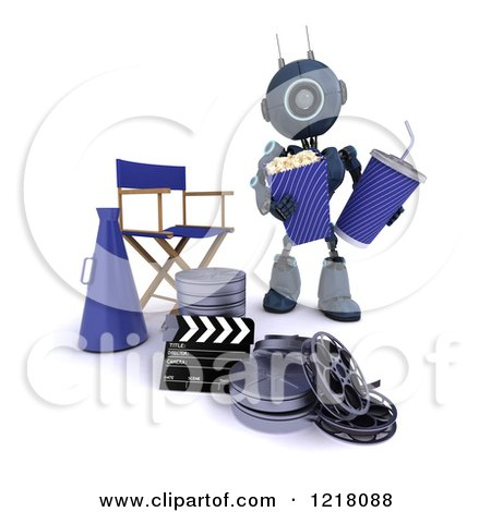 Clipart of a 3d Blue Android Robot with Popcorn and Soda by a Movie Director Chair - Royalty Free Illustration by KJ Pargeter
