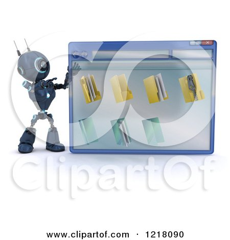 Clipart of a 3d Blue Android Robot Pointing to a Computer File Window - Royalty Free Illustration by KJ Pargeter