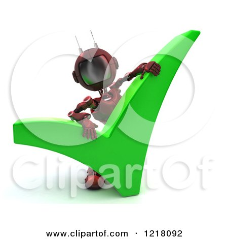 Clipart of a 3d Red Android Robot with a Check Mark - Royalty Free Illustration by KJ Pargeter
