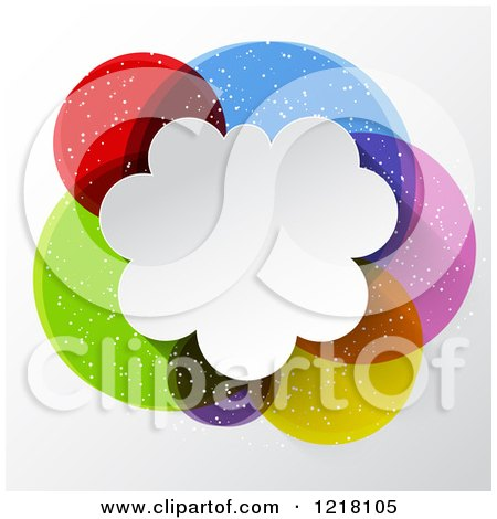 Clipart of a Colorful Speech Bubble Cloud with Text Space - Royalty Free Vector Illustration by KJ Pargeter