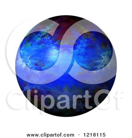 Clipart of a 3d Blue Fractal Sphere on White - Royalty Free Illustration by oboy