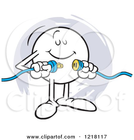 Clipart of a Moodie Character Happily Connecting Two Plugs - Royalty Free Vector Illustration by Johnny Sajem