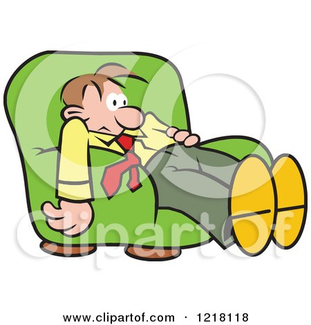 Clipart Of A Dazed Man Slouching In An Arm Chair Royalty