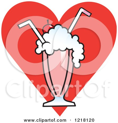 Clipart of a Strawberry Milkshake with Two Straws - Royalty Free ...