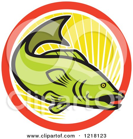 Clipart of a Green Largemouth Bass Fish in a Circle of Sunshine - Royalty Free Vector Illustration by patrimonio