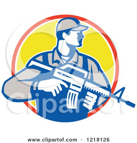Clipart of a Retro Soldier Holding an Assault Rifle in a Circle - Royalty Free Vector Illustration by patrimonio