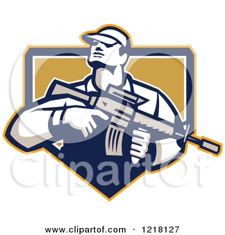 Clipart of a Retro Soldier Holding an Assault Rifle in a Shield - Royalty Free Vector Illustration by patrimonio