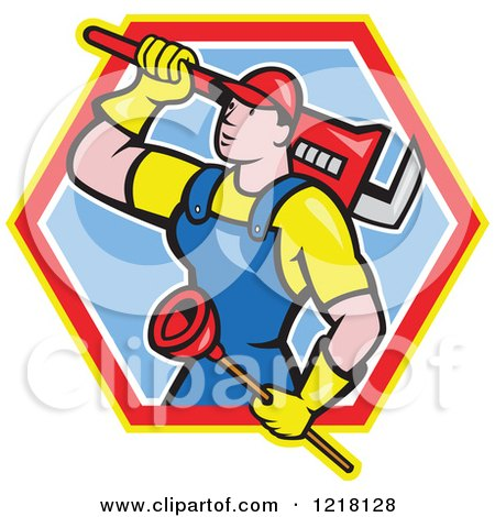 Clipart of a Cartoon Plumber with a Plunger and Monkey Wrench in a Hexagon - Royalty Free Vector Illustration by patrimonio