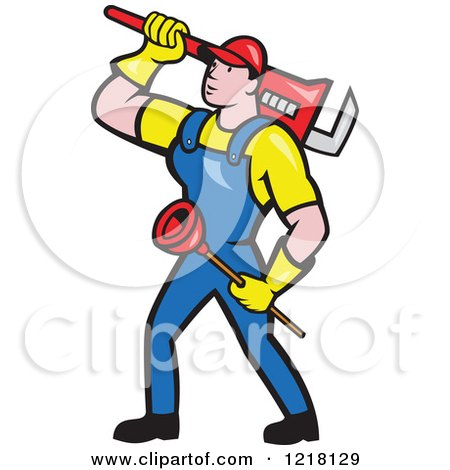 Clipart of a Cartoon Plumber Carrying a Plunger and Monkey Wrench - Royalty Free Vector Illustration by patrimonio
