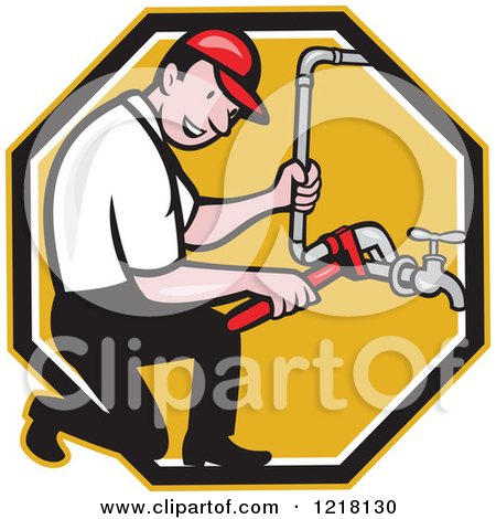Clipart of a Happy Cartoon Plumber Repairing a Pipe in an Octagon - Royalty Free Vector Illustration by patrimonio