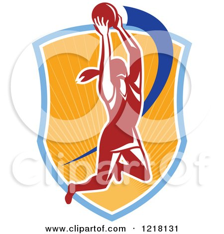 Clipart of a Retro Female Netball Player Rebounding over a Sunny Shield - Royalty Free Vector Illustration by patrimonio