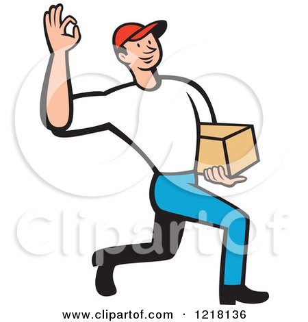 Clipart of a Cartoon Delivery Man Gesturing Ok and Carrying a Package - Royalty Free Vector Illustration by patrimonio
