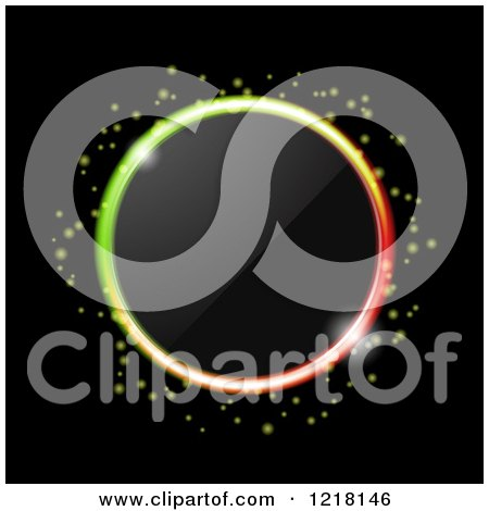 Clipart of a Neon Ring of Colorful Lgihts Around a Lens on Black - Royalty Free Vector Illustration by elaineitalia