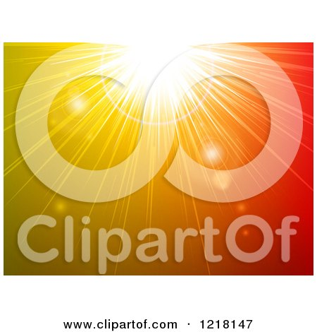 Clipart of a Sun Burst of Green Orange and Red Light - Royalty Free Vector Illustration by elaineitalia
