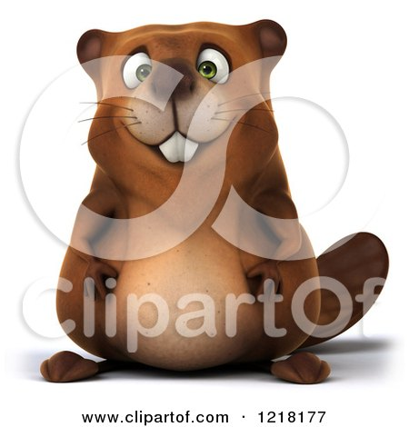Clipart of a 3d Beaver Mascot - Royalty Free Vector Illustration by Julos