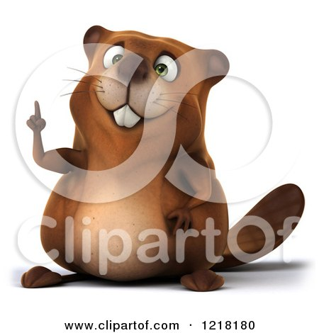 Clipart of a 3d Beaver Mascot Pointing Upwards - Royalty Free Vector Illustration by Julos