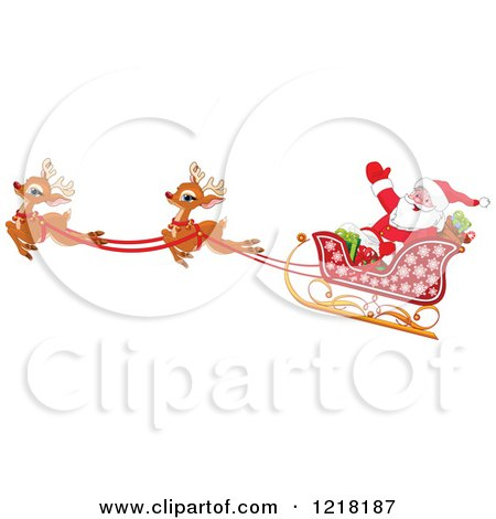 Clipart Of A Santa Waving In His Sleigh With Cute Flying Reindeer