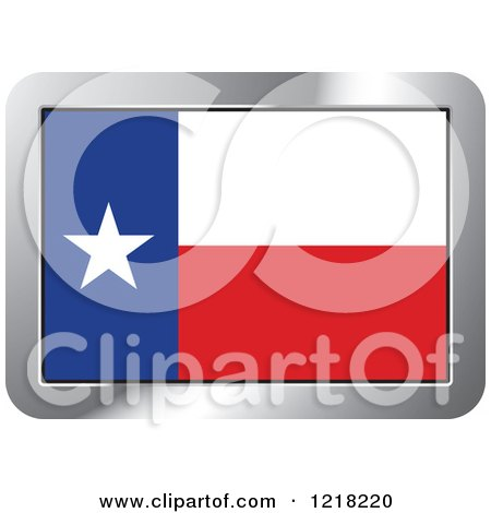 Clipart of a Texas Flag and Silver Frame Icon - Royalty Free Vector Illustration by Lal Perera