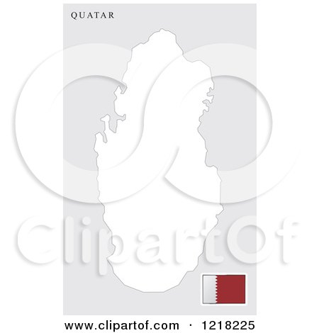Clipart of a Quatar Map and Flag - Royalty Free Vector Illustration by Lal Perera