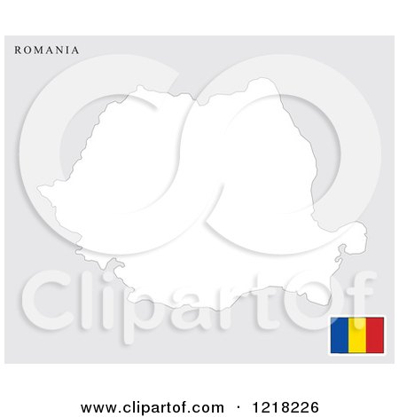 Clipart of a Romania Map and Flag - Royalty Free Vector Illustration by Lal Perera