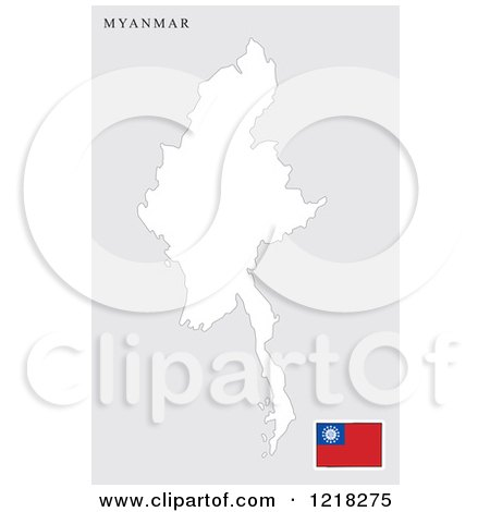 Clipart of a Myanmar Map and Flag - Royalty Free Vector Illustration by Lal Perera