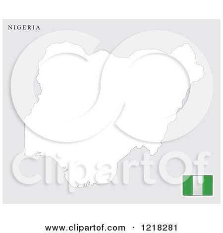 Clipart of a Nigeria Map and Flag - Royalty Free Vector Illustration by Lal Perera