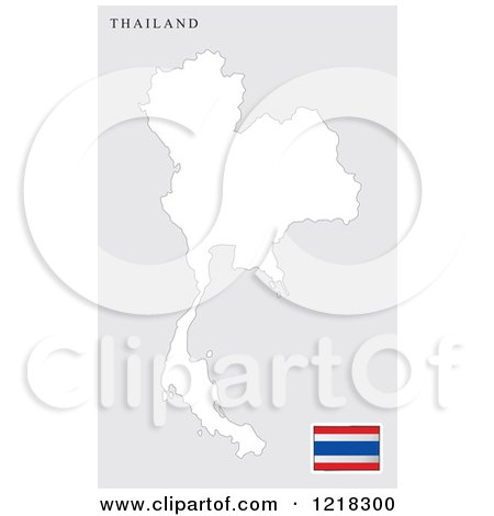 Clipart of a Thailand Map and Flag - Royalty Free Vector Illustration by Lal Perera