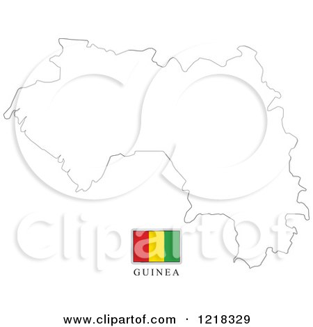 Clipart of a Guinea Flag and Map Outline - Royalty Free Vector Illustration by Lal Perera