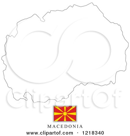 Clipart of a Macedonia Flag And Map Outline - Royalty Free Vector Illustration by Lal Perera