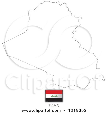 Clipart Of A Iraq Flag And Map Outline Royalty Free Vector - Iraq map outline