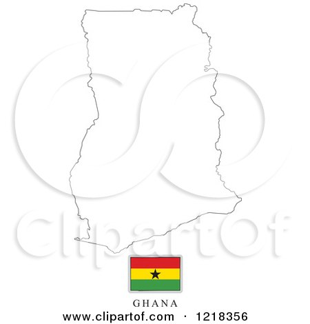 Clipart of a ghana flag and map outline royalty free for Ghana flag coloring page