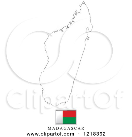 Clipart Of A Madagascar Flag And Map Outline Royalty Free Vector - Madagascar map outline